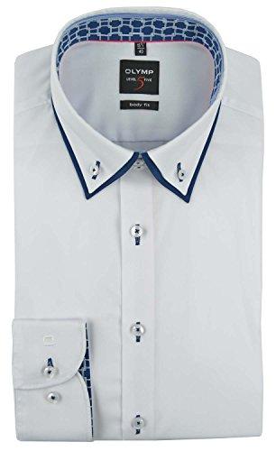 OLYMP Hemd, Weiß, Body Fit Level Five, Button-Down Kragen, Kragen ausgeputzt Weiß