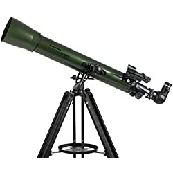 Celestron ExploraScope AZ - Telescopio astronómico (70 mm de Apertura, 700 mm de Distancia Focal, f/10 de relación Focal) Color Verde y Negro