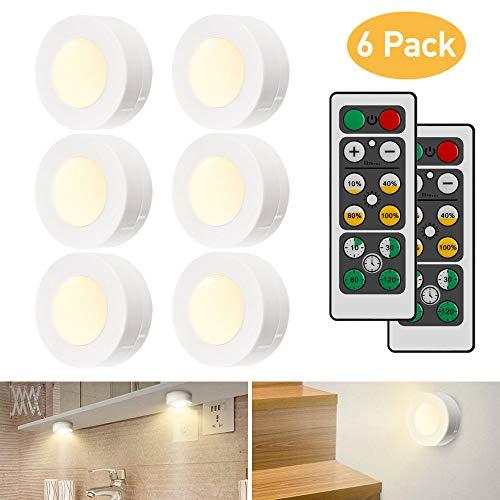iKALULA Schrankleuchten LED mit Fernbedienung, Schrank Lichter 6 Stück Schrankbeleuchtung LED Nachtlicht Kabinett Beleuchtung LED Schranklicht für Schlafzimmer, Kleiderschrank, Kabinett, Küche - Weiß