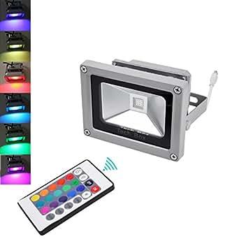 2 x 10 W LED Spot Projecteur Lumière douche RGB étanche IP65 télécommande IR