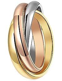 d61ea494e4046b BOBIJOO Jewelry - Bague Femme 3 Anneaux Entrelacés Acier Plaqué Or Argent  Rose Mariage Alliance
