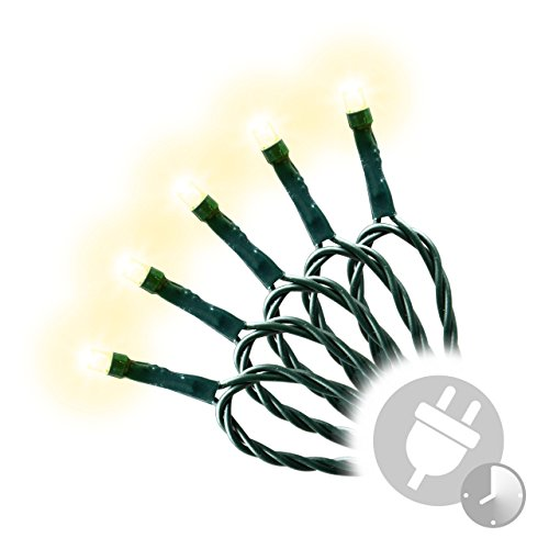 400er LED Lichterkette warm weiß mit Trafo + Timer grünes Kabel Weihnachtsbeleuchtung Weihnachtsdeko Partylichterkette Außenlichterkette Partydeko Weihnachten Terrasse Länge 50 m Außen Xmas