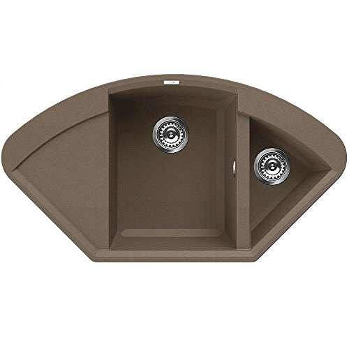 Preisvergleich Produktbild Luxus Waschbecken Granit Eckspüle 1,5 / 2 Becke / Drehexcenter / Serie YTALO 1000 / leichte Reinigung durch prismatischer Eckenformung / italienische Qualitätsmarke ELLECI / Einbeckenspüle passend für Unterschränke ab 80 cm Breite / Material GRANITEK / Farbe TORTORA / HELL BRAUN / FARBAUSWAHL / MADE IN ITALY