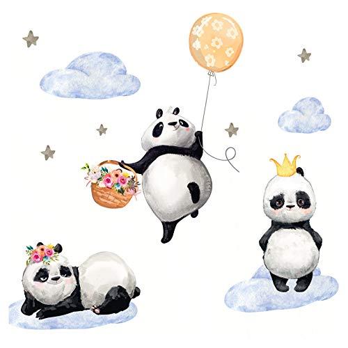 Little Deco Kinderzimmer Mädchen Aufkleber DREI Pandas Ballon Blumen Wandtattoo Tiere Wandaufkleber Deko Babyzimmer Junge Kinder Wandsticker Sticker DL209-5 - Krone-schlafzimmer-möbel
