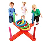 Awtang Ring Toss Throwing Game Children Kids Training Toys Quoits Set Outdoor Toys Garden Games Family Fun Game Toy Educational Puzzle Toy Child Gift carefully
