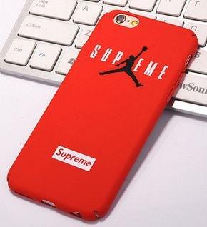 Coque iPhone 6 6S Supreme Jordan Air Logo Plastique rigide Rouge