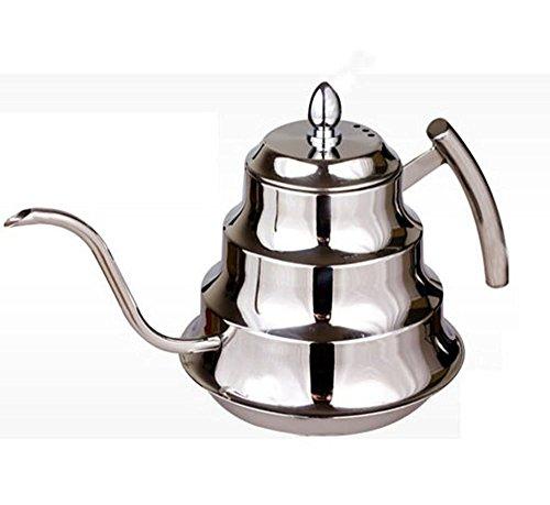 dealglad® 1.2L Edelstahl Coffee Drip Kettle Teekanne, Kaffeekanne Kaffee Zubehör Wasser Flasche auf der Herd - Herd-kaffee-topf Auf