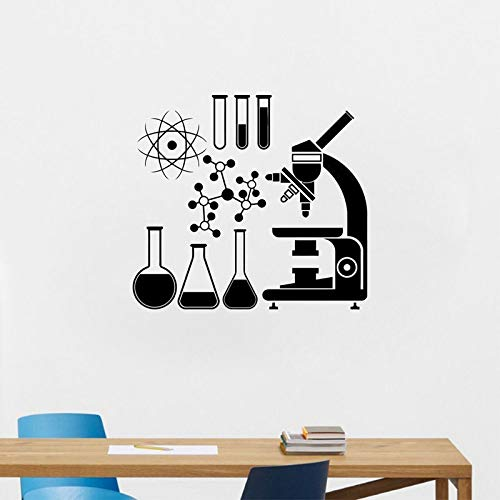 zqyjhkou Mikroskop Wissenschaftler Chemie Wandaufkleber Vinyl Labora School Decor Abziehbilder Removable Wallpaper Wandbild Dekoration Sk26 46x42 cm