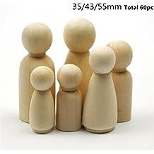 Familia de la muñeca de la clavija de madera sólida Naturales Cuentas de madera inacabados Torneaduras-lista para la pintura Waldorf bebé Teether Juguetes