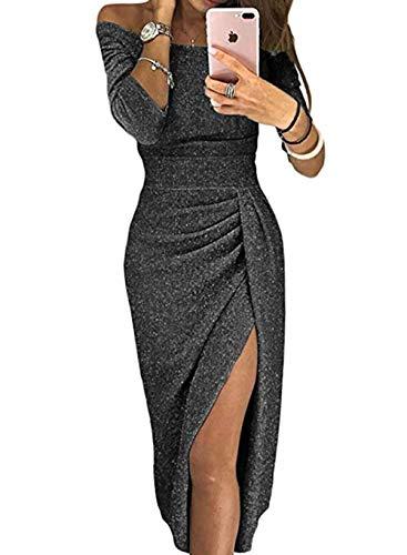 FIYOTE Damen Off Cocktailkleid Shoulder Kleider für Hochzeit Elegant Maxikleider Glänzend Hoch Geschnitten Abendkleider 5 Farbe S/M/L/XL, Schwarz, Small (EU38-EU40)