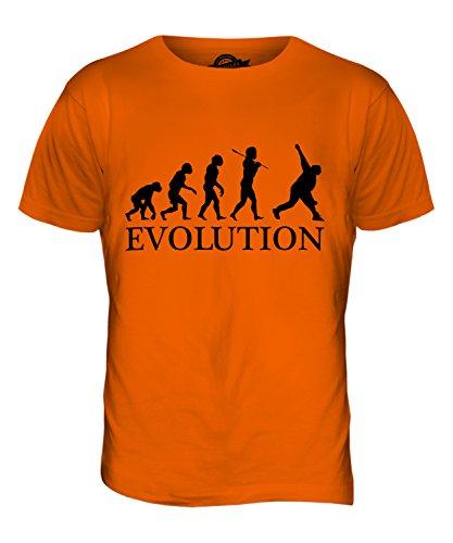 CandyMix Cricket Bowler Evolution Des Menschen Herren T Shirt Orange