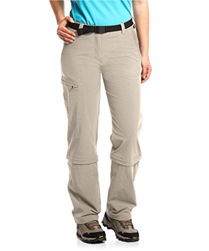 Maier Sports Damen Hose Arolla Zip Off, Beige (Feder grau), Gr. 38
