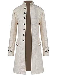 Chaqueta Gotica Steampunk Hombres Traje Vestido Victoriano Uniforme De Chaquetas Abrigo Blanco XL