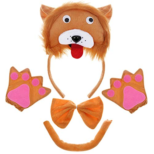Kostüm Stirnband Bowtie Schwanz Handschuhe Set 3D Lion Kostüm Kinder Cute Cartoon Kostüm Anzug für Cosplay Party Birthday Party Favors ()