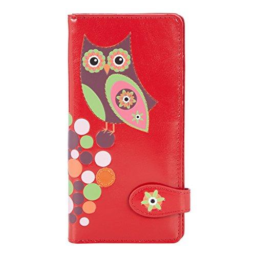 Shagwear Junge-Damen Geldbörse , Large Purse: (Geldbörse Eule Rot/ Retro Owl)