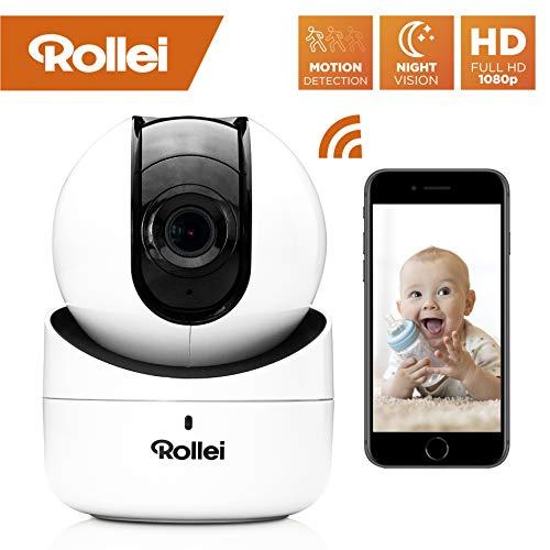Rollei SafetyCam 100 | WLAN HD Überwachungskamera mit Bewegungsmelder und Ton | Home Security Camera Indoor | IP Kamera WiFi innen, Überwachung mit Handy App ohne Akku, SD Karte und Cloud Speicher
