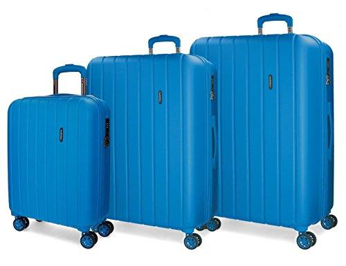 Movom Wood Juego de Maletas, 75 cm, 220 Litros, Azul