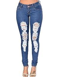 WanYang Mujeres Pantalones Vaqueros Mujer Slim Agujeros Flacos Jeans De Lápiz Denim Jeans