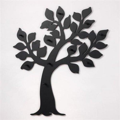 Appendiabiti albero a parete nero forma di albero nero mdf legno 100x93