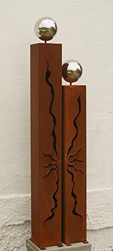 Gartendekoshop24 Rostsäulen 125cm und 100cm mit Risse Edelstahlkugeln*