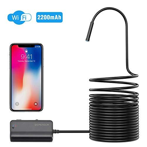WiFi Endoskop, DEPSTECH Endoskopkamera, 1200P Halbstarre kabellose Inspektionskamera 2.0 Megapixel 2200mAh Akku-Schlangenkamera Brennweite 40cm für Android,IOS,iPhone,Smartphone,Tablet - Schwarz (5M)
