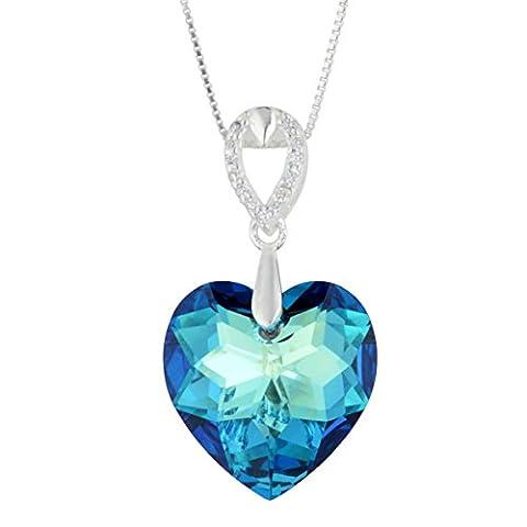 'Galaxy Jewellery' Collier en argent sterling 925 avec véritable cristal Swarovski Love Blue Crystal - idéal cadeau élégant pour les femmes et les filles dans une boîte-cadeau de luxe.