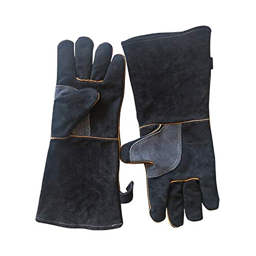 CHUNJIANGSHUI 1 Paar Extrem Hitzebeständige Handschuhe Zum Nähen, Schweißen, Grillen, Gärtnern, Camping, Herd, Kamin (Color : L 40cm)