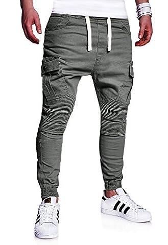 MT Styles Biker Jogg-Jeans Chino Hose RJ-2276 [Dunkelgrau, (Pantaloni)
