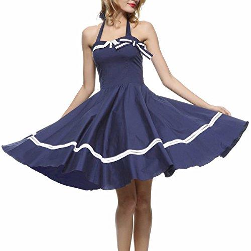 Shanxing Damen Rockabilly Kleid Neckholder 1950er Cocktailkleid Vintage Kleider Marine Blau