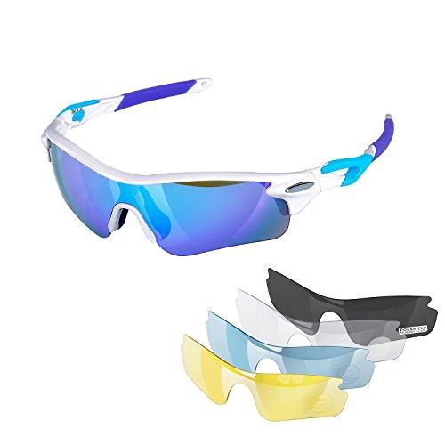 NAVESTAR Polarisierte Sport Sonnenbrille mit 5Austauschbare Objektive, Sonnenbrille für Herren und Damen Bremsschuhe, Angeln, Fahren, Weiß/Blau