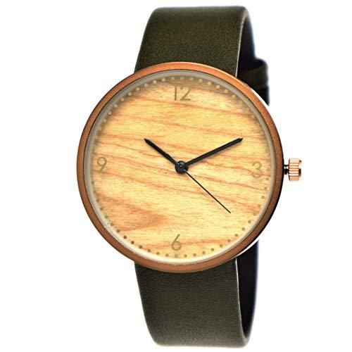 Elegante Pure Time® Designer Damen-Uhr Öko Natur Holz-Uhr Armband Uhr Analog Klassisch Quarz-Uhr Armbanduhr Grün Khaki Braun Rose-Gold Leder-Armband Holz Ziffernblatt