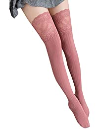 4713eafede345 Women Lace Trim Thigh High Over The Knee Socks Long Cotton Warm Stockings