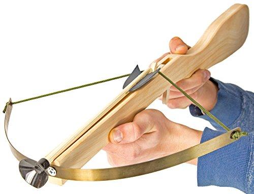 Spielzeug-Armbrust Holz-Armbrust 60cm Kinder-Waffe Fernkampf Natur mit Stahlspanner 45cm inkl. 3 Pfeile Bolzen Munition Stahl-Bügel