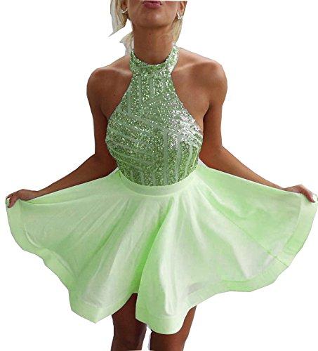Fanciest Damen Backless Kleider Kurz Heimkehr Dress 2016 Abendkleider Gowns Lime Green