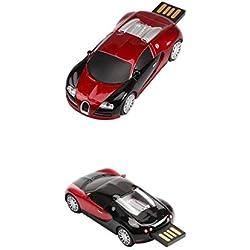 Almencla 2 Packungen Stilvolle USB Flash Laufwerk Dunkelrot Sportwagen Form Langlebiger Daumen Sprungantrieb Pen Drive Memory Stick Tragbarer Datenspeicher U D