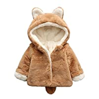 VEMOW Baby Coat Infant Girls Boys Autumn Winter Hooded Coat Cloak Jacket Thick Warm Clothes (Khaki, 0-6 Months)