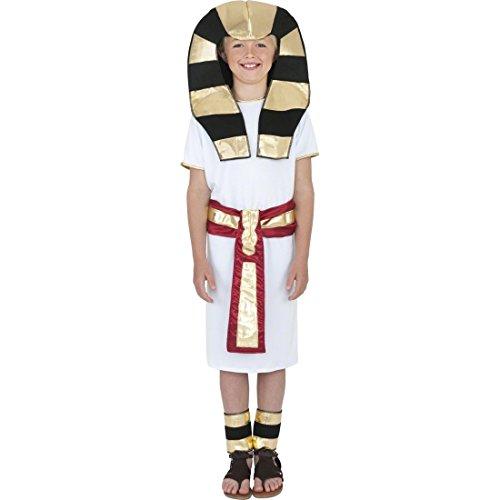 NET TOYS Kinder Kostüm Ägypter Pharao weiß rot L 158 cm Pharaonen Kostüm Kinderkostüm Pharaonenkostüm Ramses Ägypten Faschingskinderkostüm