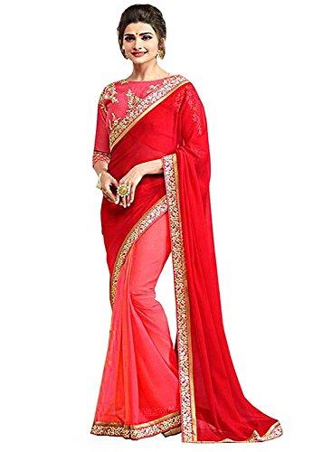 Shiroya Brothers Women\'s Latest Design Party Wear Silk Saree With Blouse Piece(New Saree_Red_SB_Sari_7792)