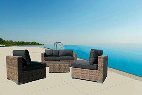 Luxurygarden ® Wohnzimmer Modular Sofa 2Sitzer mit Sessel und Tisch in Rattan Typ Andresa für Outdoor Möbel Garten Außen