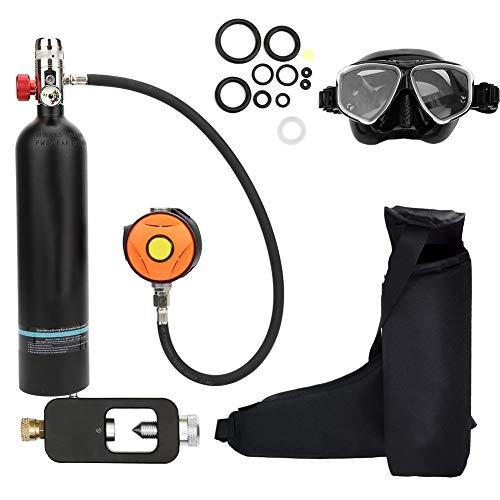 Sauerstoffflasche Kit, Mini Taucherflasche Tauchausrüstung Set, Pressluftflasche Schnorcheln Unterwasser Atemgerät Tauchausrüstung Taucher Zubehör, Nchfüllbarem Design(Schwarz)
