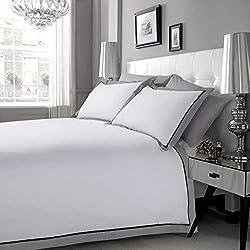 Hachette Mayfair/Doppelbett-Größe, Weiß, Schwarz und Grau, 100 % ägyptische Baumwolle, 3-teilig - Bettbezug, Bettwäsche-Set und Kissenbezüge, 200er Fadenzahl