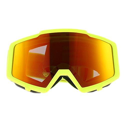 Motorradbrille Motocross Goggles Brillen Radfahren Schutzbrillen Helm Goggles Sport Gafas - Dumb Fluorescent Gelb Rahmen Rot Gläser