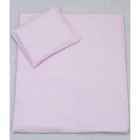 100% cotone per bambini per lettino, SET copripiumino (135 x 100 cm & federa 40 x 60 cm, tinta unita, colore: rosa