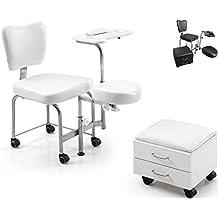 Athos – Taburete de esteticista para masaje, pedicura, manicura, estética, reconstrucción de uñas, podología, Bianco