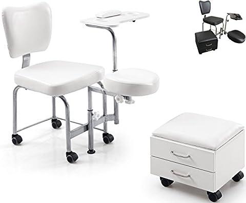 Athos Tabouret de massage pédicure manucure esthétique pour esthéticienne Reconstruction Ongle Nail Art Chaise Podologia, Bianco