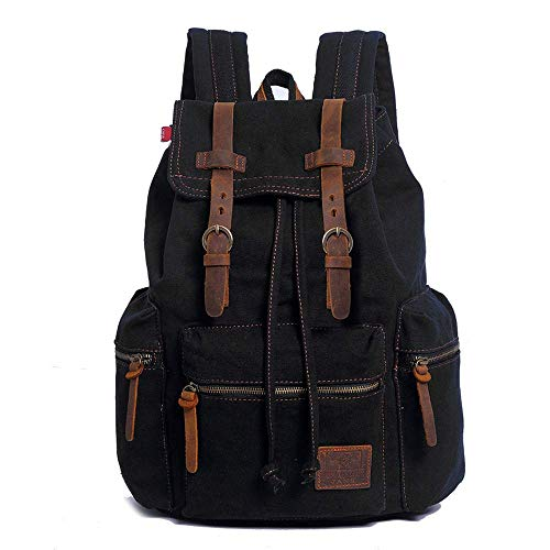 Retro Canvas Backpack Vintage Backpack Genuine Leather...