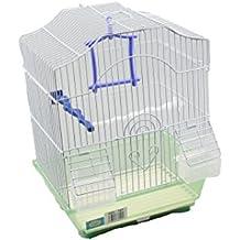 DZL jaula para pajaros con comederos,palos y columpios(30X23X39CM) (AZUL)