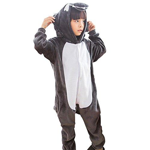 Kinder Tierkostüme Hooded Overall Onesies Pyjamas für Jumpsuit Halloween Kinderparty Karneval Kostüm-Kleidung Wolf XXL