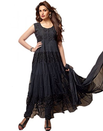 BikAw Printed Black Net Brasso Fashion Anarkali Style Party Wear Semi-Stitched Suit. - KHANTIL02  available at amazon for Rs.379
