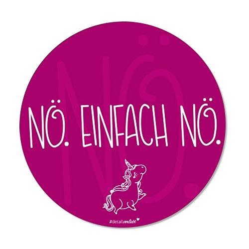 Maus-Pad Nö. Einfach Nö. Pink | dv_271 | Ø 22 cm rund | Mouse-Pad mit rutschfester Unterlage in Standard-Größe | lustig Einhorn